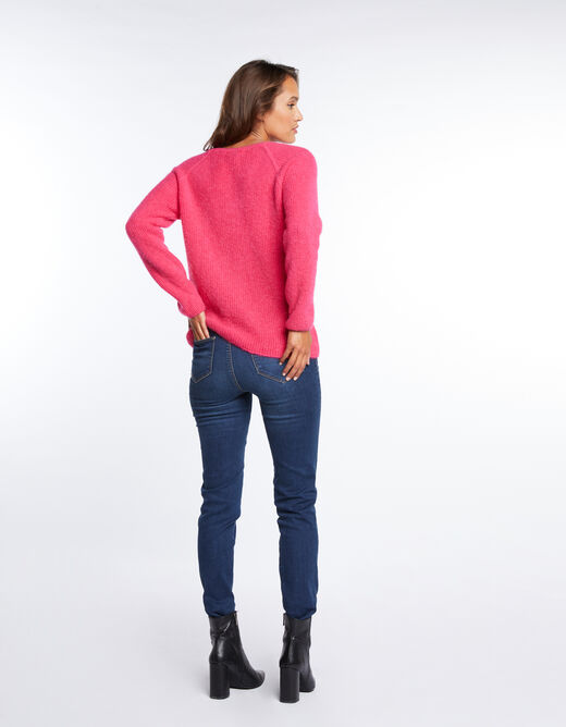 Pull manches longues maille duveteuse fuchsia femme