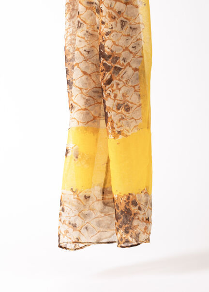 Foulard a imprime animalier jaune femme