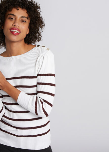 Pull manches 34 a rayures marinieres ecru femme