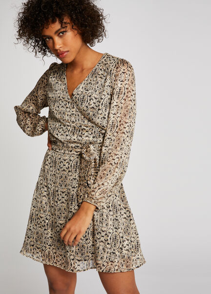 Robe evasee imprime abstrait multico femme