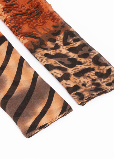 Foulard a imprime leopard marron femme