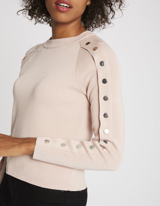 Pull manches longues à boutons-pression rose femme
