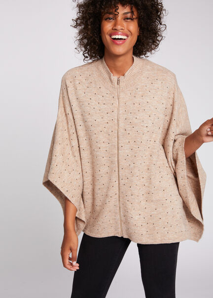 Poncho manches 34 a details strass beige femme