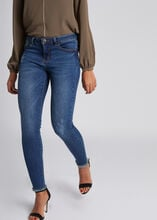 Jeans skinny taille basse a bords francs jean stone femme