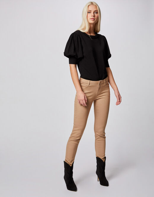 Jeans skinny taille basse sable femme