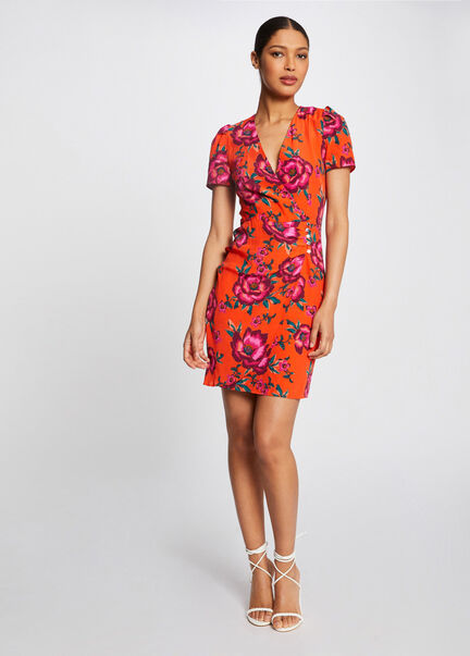 Robe portefeuille imprime floral orange femme