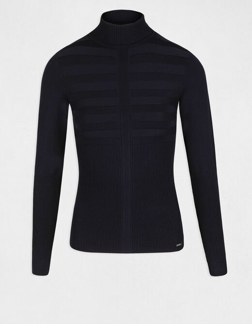 Pull manches longues col roulé marine femme
