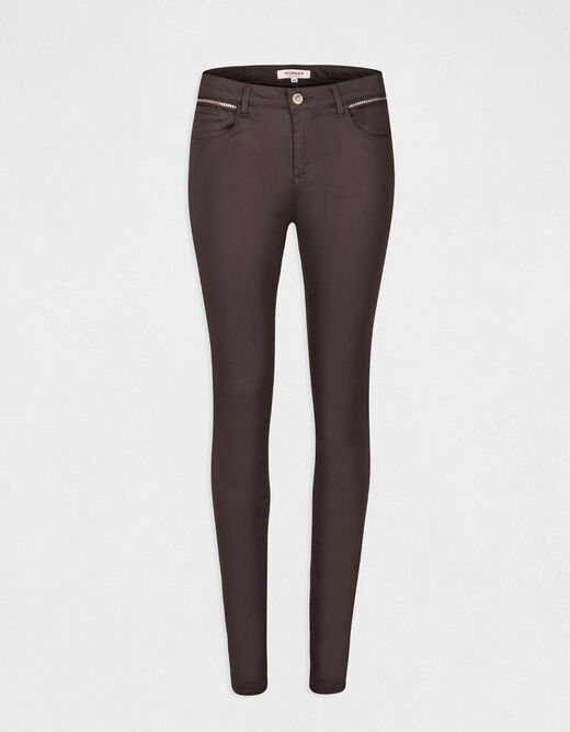 Pantalon skinny taille standard gris anthracite femme