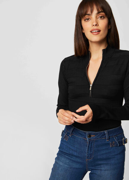 Pull manches longues col montant zippe marine femme