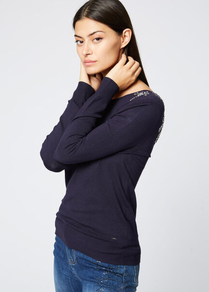 Pull manches longues dos ouvert bijou marine femme