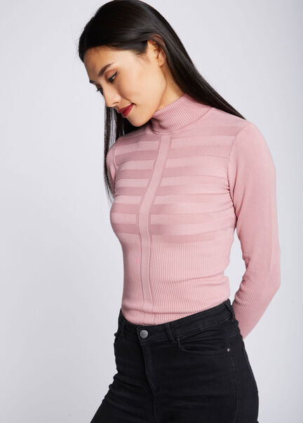 Pull manches longues col roule rose pale femme