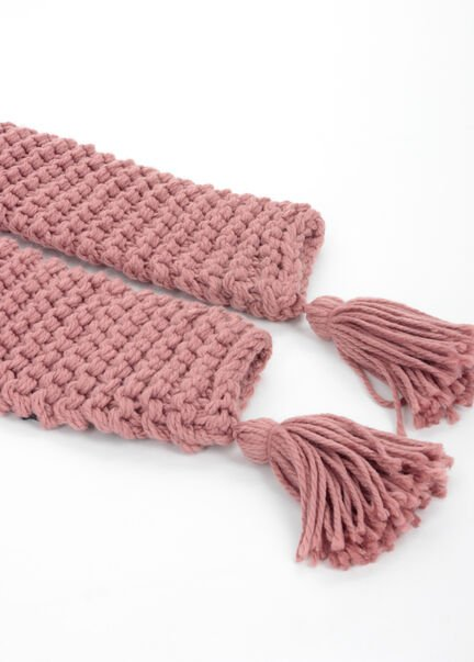 charpe maille fantaisie a pompons rose femme