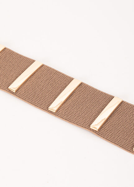 Ceinture avec barres metalliques beige femme