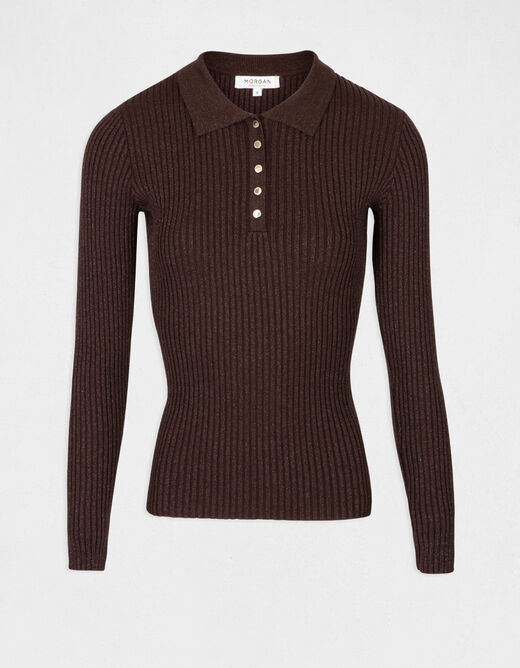 Pull manches longues maille fine boutons choco femme