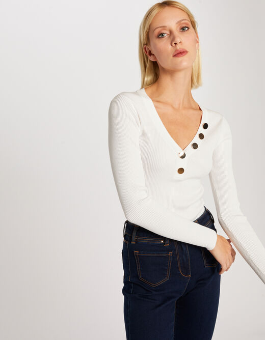 Pull manches longues boutons maille fine ecru femme