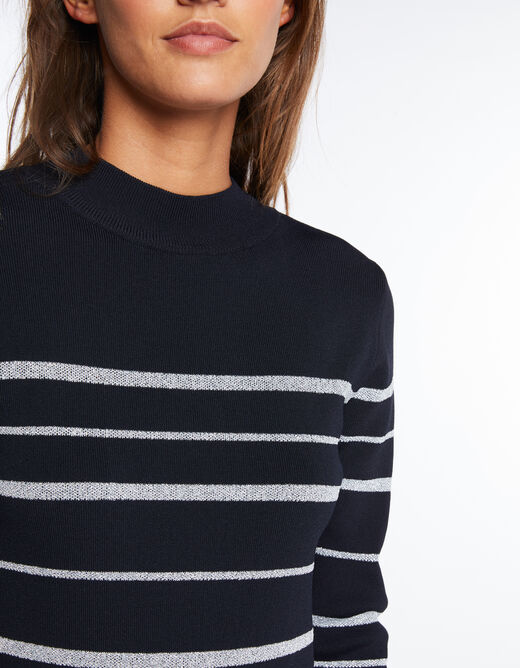 Pull manches longues rayé col montant marine femme
