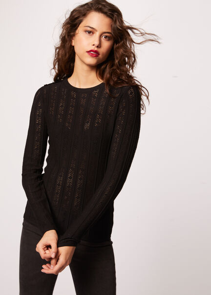 Pull manches longues maille ajouree noir femme