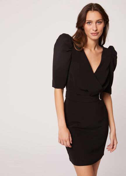 Robe ajustee manches 34 froncees noir femme