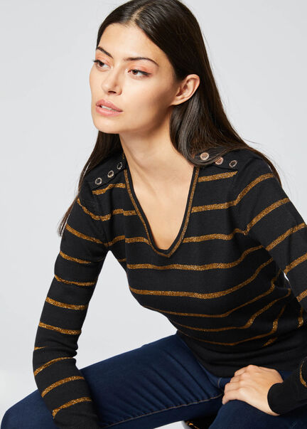 Pull manches longues raye boutonne noir femme
