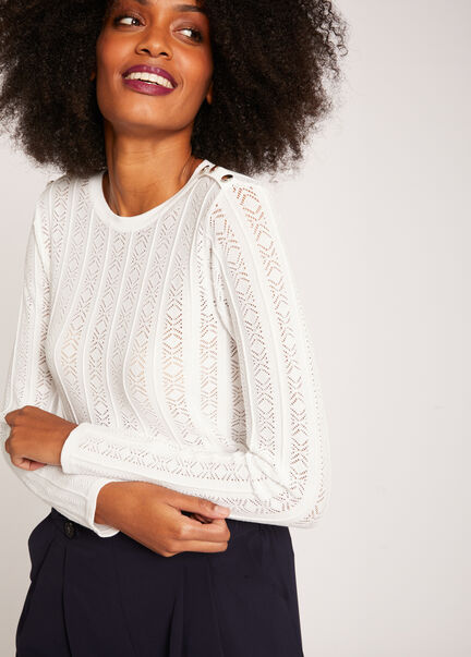 Pull manches longues maille ajouree ecru femme