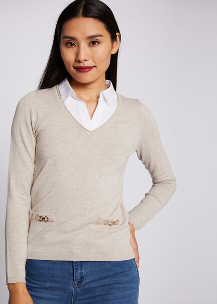 Pull manches longues avec col superpose beige femme