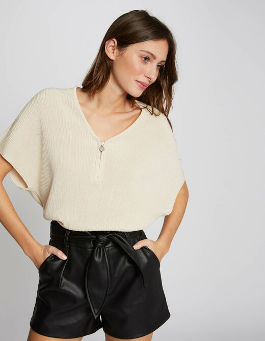Pull manches courtes amples ivoire femme