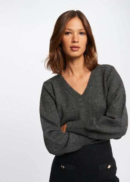 Pull manches longues a fils metallises gris anthracite femme