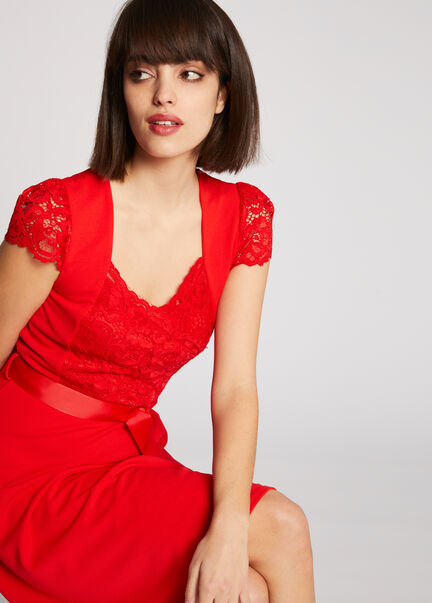 Robe patineuse ceinturee a dentelle rouge femme