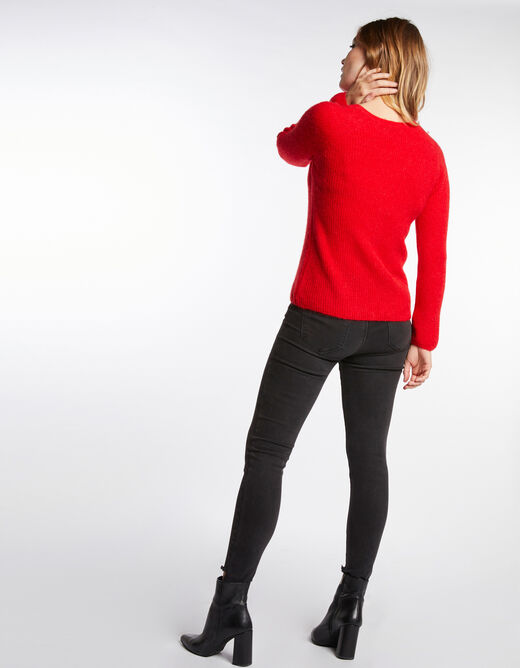 Pull manches longues maille duveteuse rouge femme
