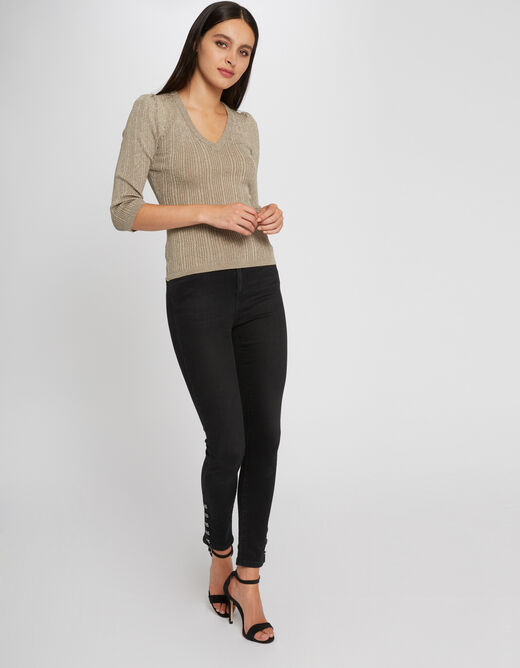 Pull manches 3/4 tricotage en côte taupe femme