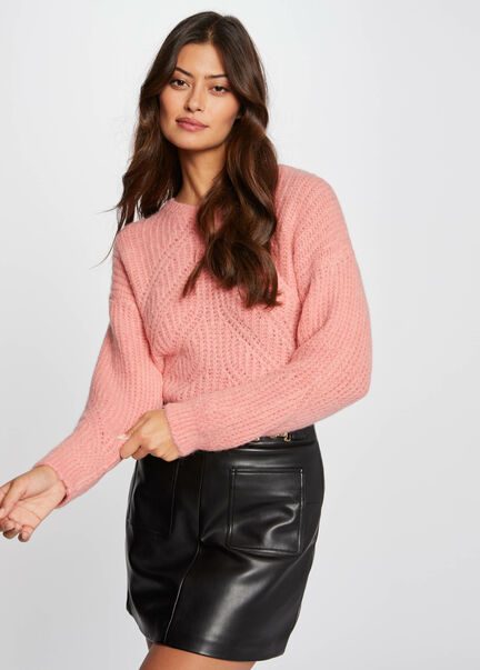 Pull manches longues avec col rond rose pale femme