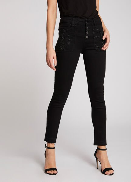 Jeans skinny taille standard a strass noir femme