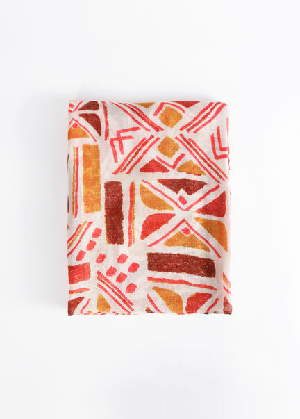 Foulard a imprime geometrique rouge femme