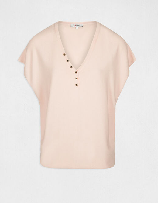 Pull manches courtes avec boutons rose pale femme